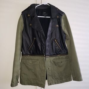 Army green and faux leather Jacket